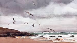 Relaxing Watercolor Painting - Beach with Seagulls - YouTube